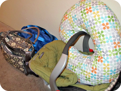 Got my hospital bag, diaper bag, car seat, and boppy pillow just waiting to be used.